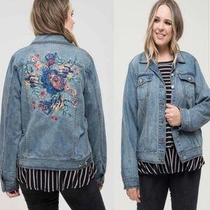 Bouquet of Embroidered Floral Denim Jacket Plus